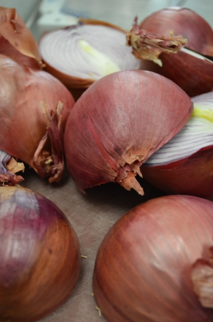 Onions in the kitchen at Honey's.