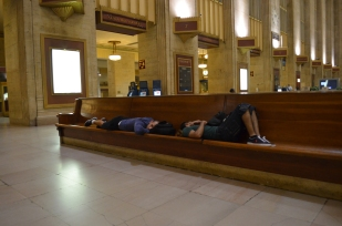 Sleeping on the long benches
