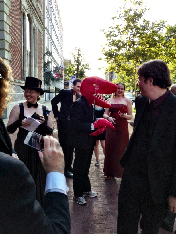 Major, one of the designers for Velociraptor! Cannibalism! on the red carpet.