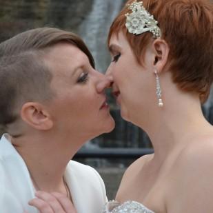 Weddings, New York Weddings, LGBT Weddings, Kiss, Brides, Suit, Women, J.R. Blackwell