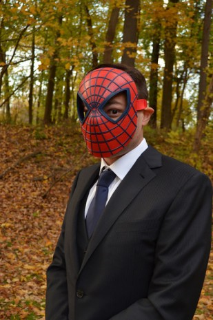 The Traditional wedding Groom in a spiderman mask. Like you do. Holly and Steve's Wedding