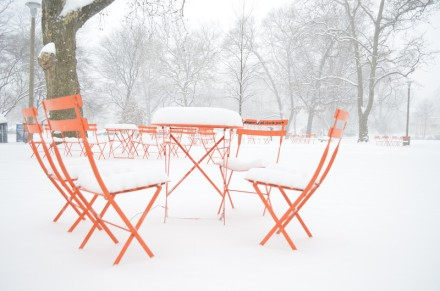 Orange Chairs in Clark Park  Photo by J.R. Blackwell