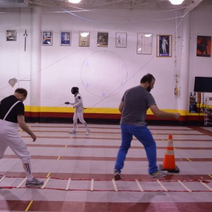 Made New: Fencing Jared Axelrod practices footwork.
